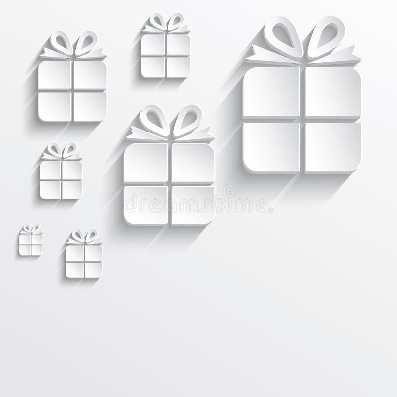 Bożenarodzeniowego prezenta biały papier 3D royalty ilustracja