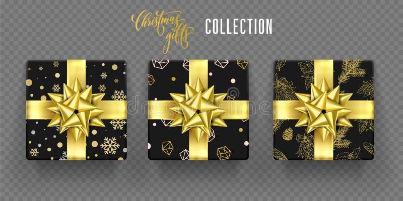 Bożenarodzeniowego prezenta pudełka złotego łęku nowego roku powitania opakowania tasiemkowy wektorowy wzór ilustracji