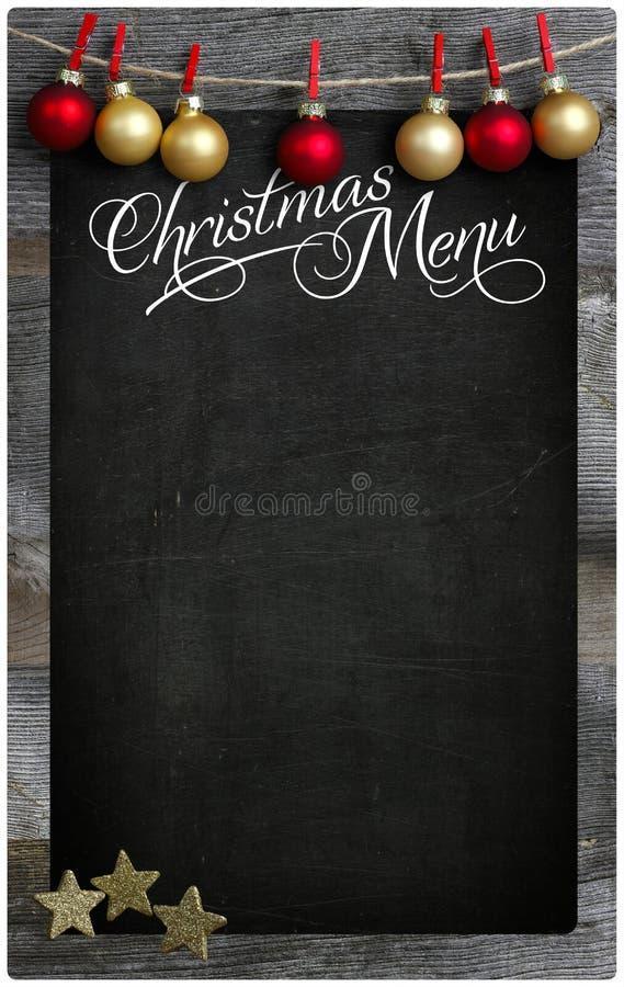 Bożenarodzeniowego Restauracyjnego menu Blackboard kopii Drewniana przestrzeń obrazy royalty free