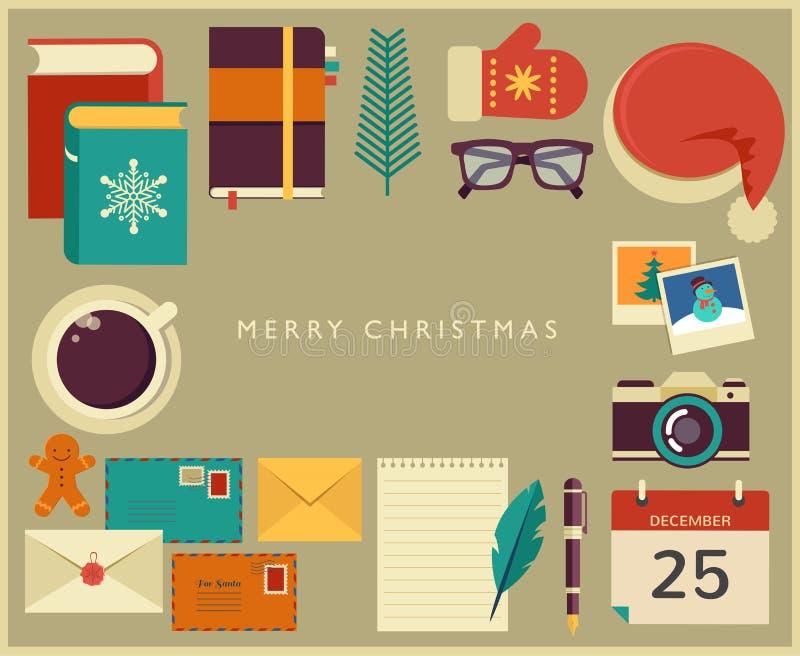 Bożenarodzeniowego Santa desktop płaski wektorowy projekt royalty ilustracja
