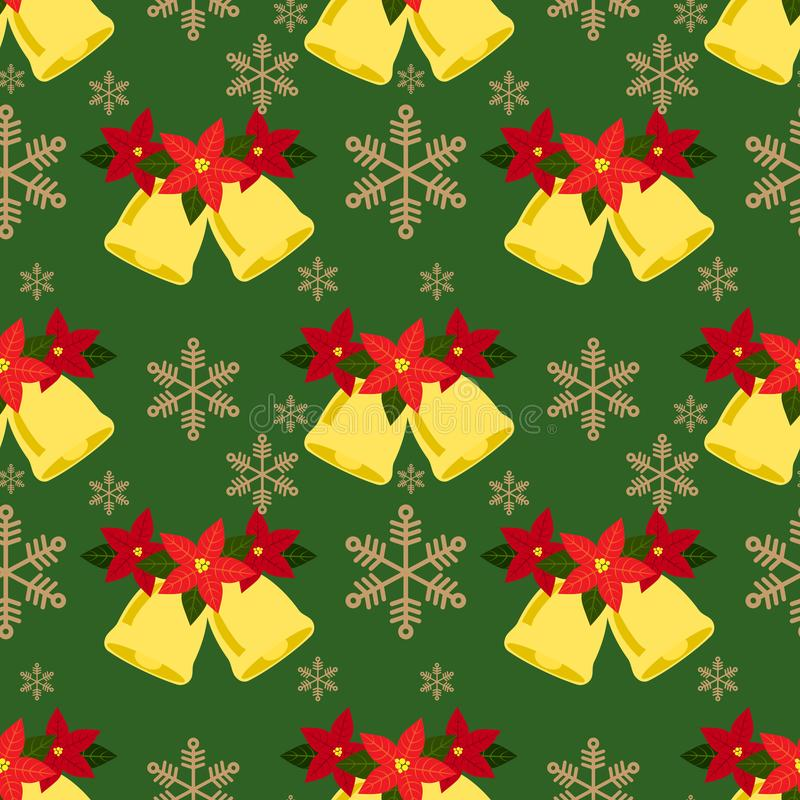 Bożenarodzeniowego sezonu wakacyjnego bezszwowy wzór z Bożenarodzeniowymi dzwonami dekoracyjnymi z czerwonym poinesettia i płatek ilustracja wektor