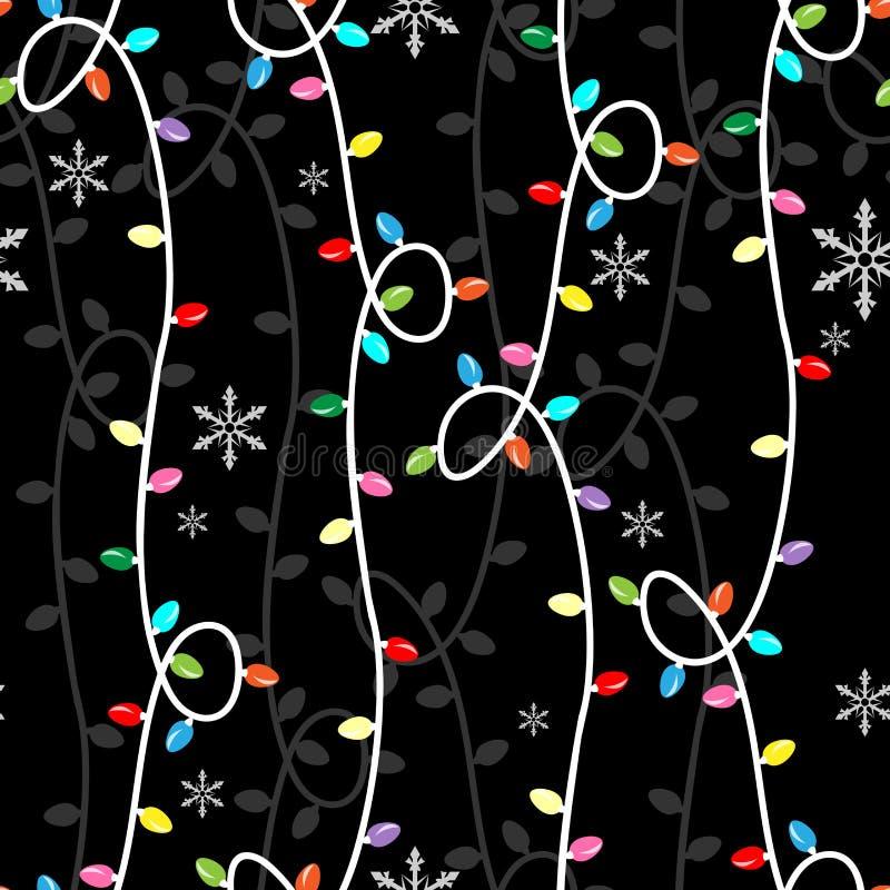 Bożenarodzeniowego sezonu wakacyjnego bezszwowy wzór z kolorowymi bożonarodzeniowe światła żarówkami, płatek śniegu i royalty ilustracja