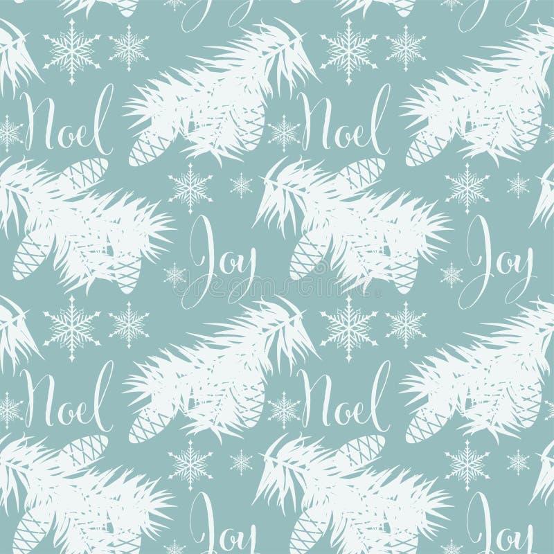 Bożenarodzeniowego sezonu wakacyjnego bezszwowy wzór z sosnowymi gałąź, sosnowymi dokrętkami i płatek śniegu, royalty ilustracja