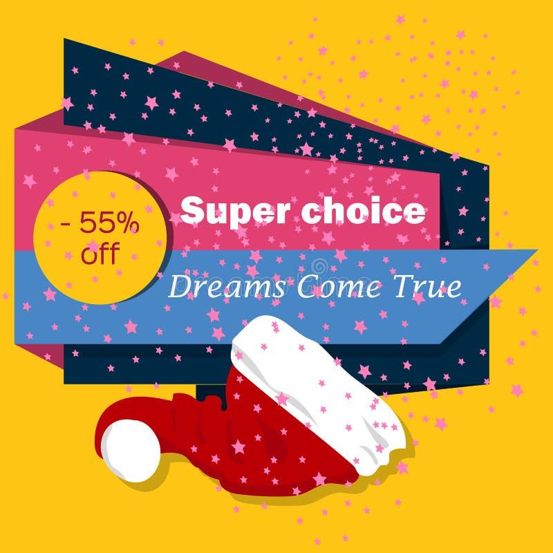 Bożenarodzeniowego sprzedaż sztandaru tła wakacje rabata xmas zimy oferty wektoru reklamowa ilustracja ilustracji