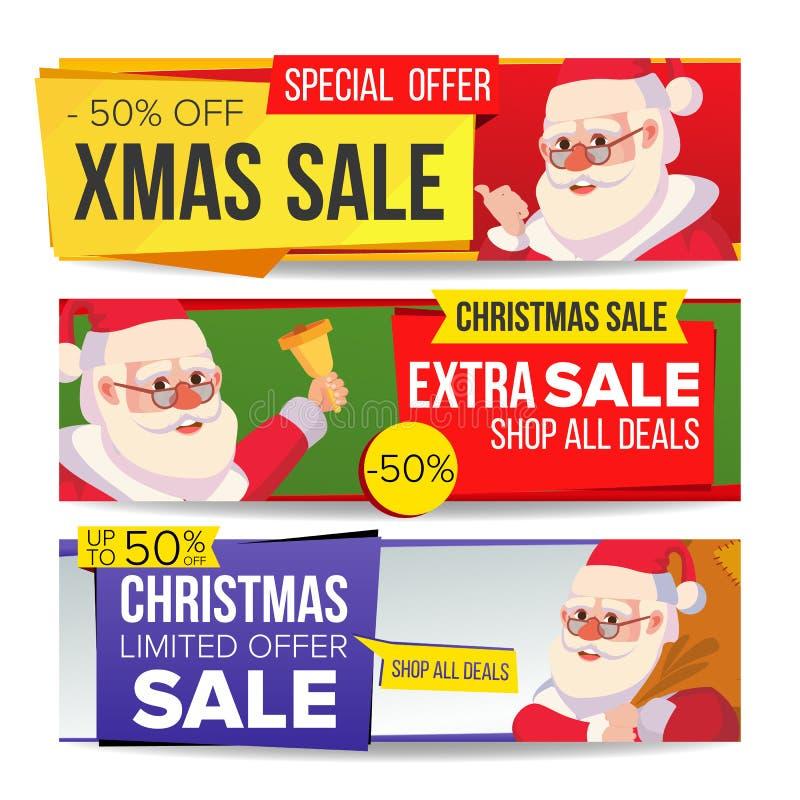 Bożenarodzeniowego sprzedaż sztandaru Ustalony wektor boże narodzenia Claus wesoło Santa Zima online zakupy Horyzontalni Dyskonto ilustracji