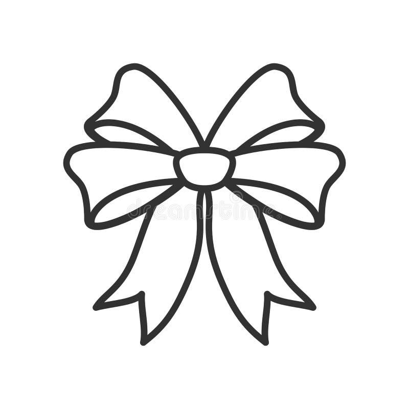 Bożenarodzeniowego Tasiemkowego konturu Płaska ikona na bielu ilustracja wektor