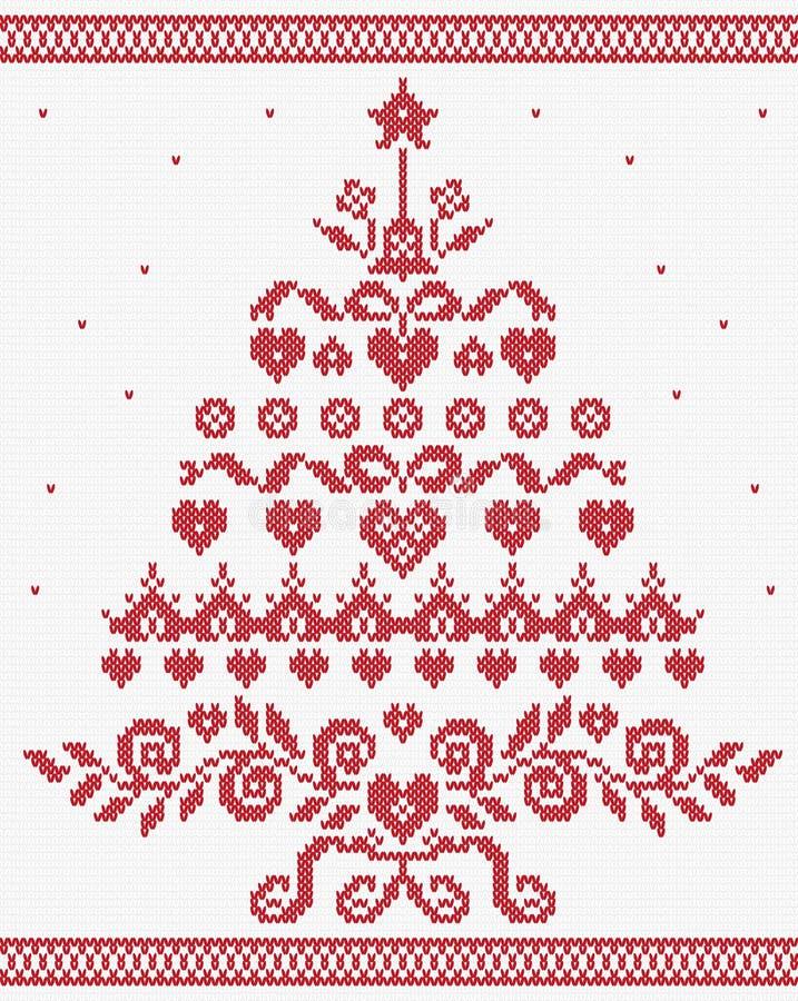 Bożenarodzeniowego Ukraińskiego ornamentu czerwona drzewna wektorowa bezszwowa tekstura royalty ilustracja