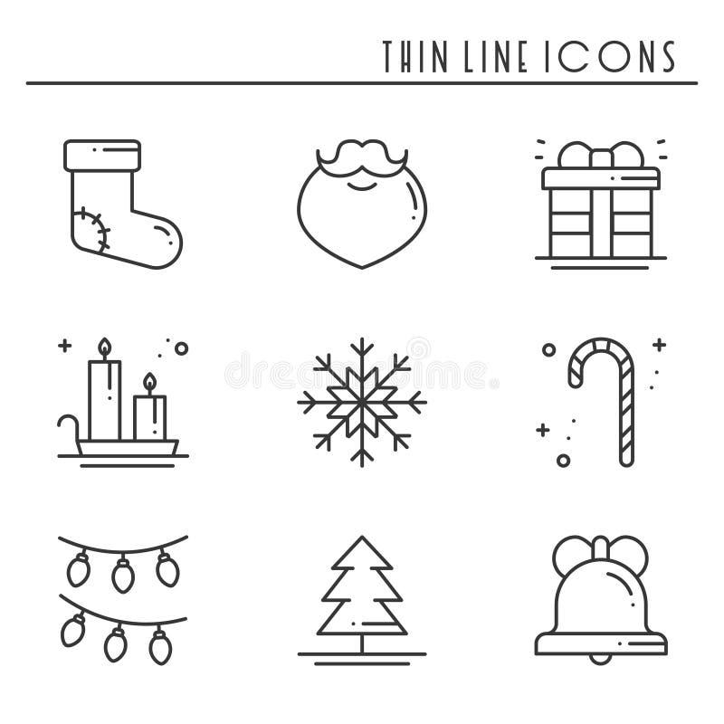 Bożenarodzeniowego wakacje cienkie kreskowe ikony ustawiać Nowego Roku świętowania konturu kolekcja Podstawowi xmas zimy elementy royalty ilustracja