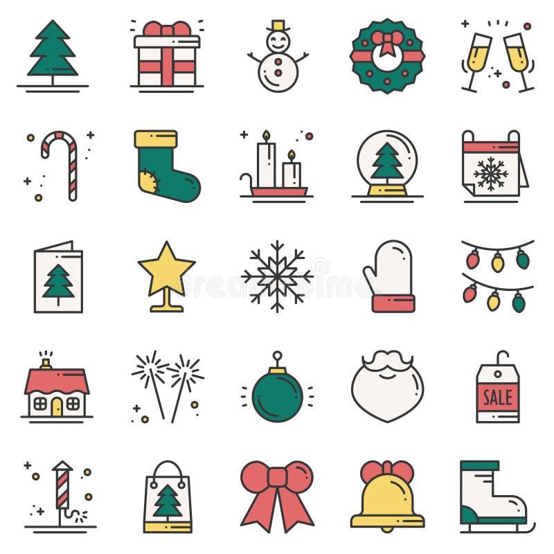 Bożenarodzeniowego wakacje cienkie kreskowe ikony ustawiać Nowego Roku świętowania konturu kolekcja Podstawowi xmas zimy elementy ilustracja wektor