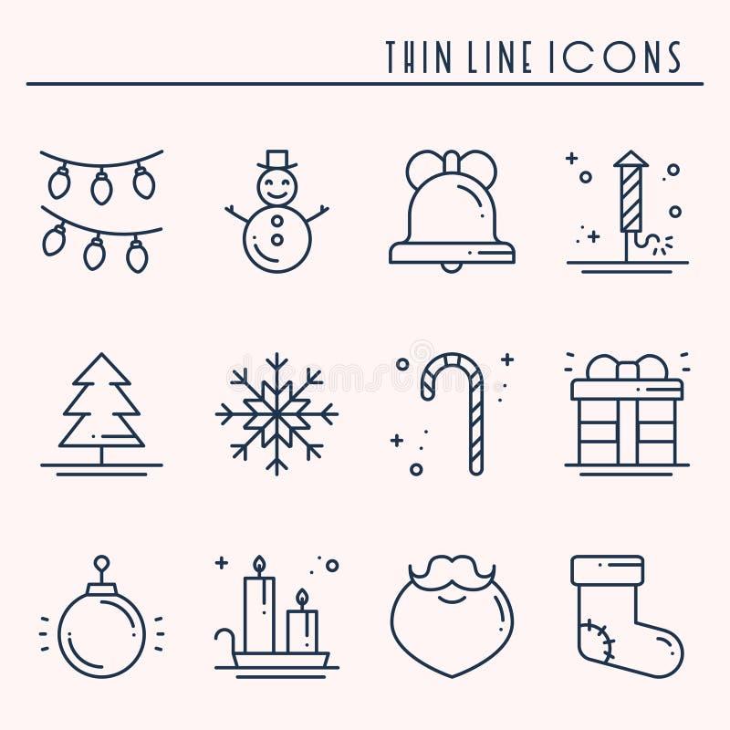 Bożenarodzeniowego wakacje cienkie kreskowe ikony ustawiać Nowego Roku świętowania konturu kolekcja Podstawowi xmas zimy elementy ilustracji