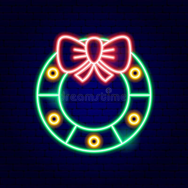 Bożenarodzeniowego wianku Neonowy znak ilustracji