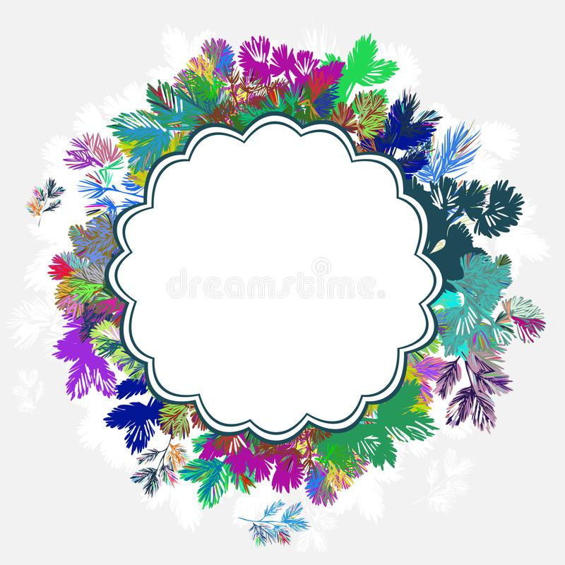 Bożenarodzeniowego wianku nowego roku jedlinowego drzewa wektoru karty kolorowy tło royalty ilustracja