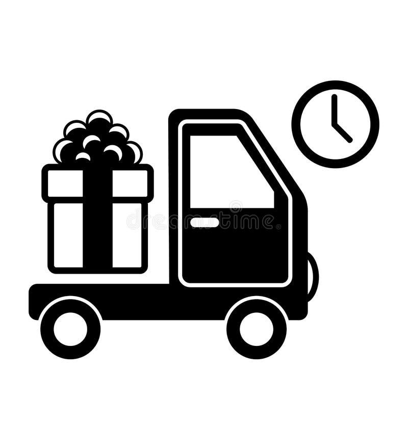Bożenarodzeniowego zakupy Doręczeniowy samochód z prezenta pudełka Płaskim czernią Pictogr royalty ilustracja