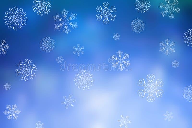 Bożenarodzeniowej abstrakcjonistycznej zimy bokeh błyszczący śnieżny tło z unikalnymi płatek śniegu ilustracja wektor
