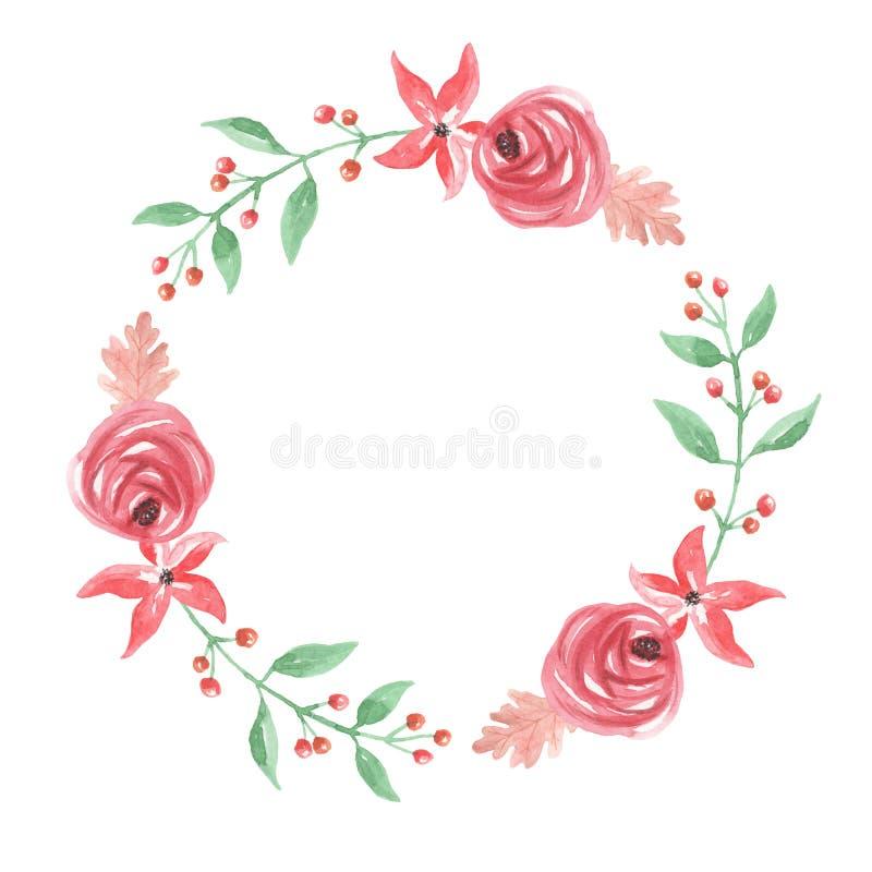 Bożenarodzeniowej akwareli Yule jagod kwiatów zimy wianku Kwiecista girlanda ilustracja wektor