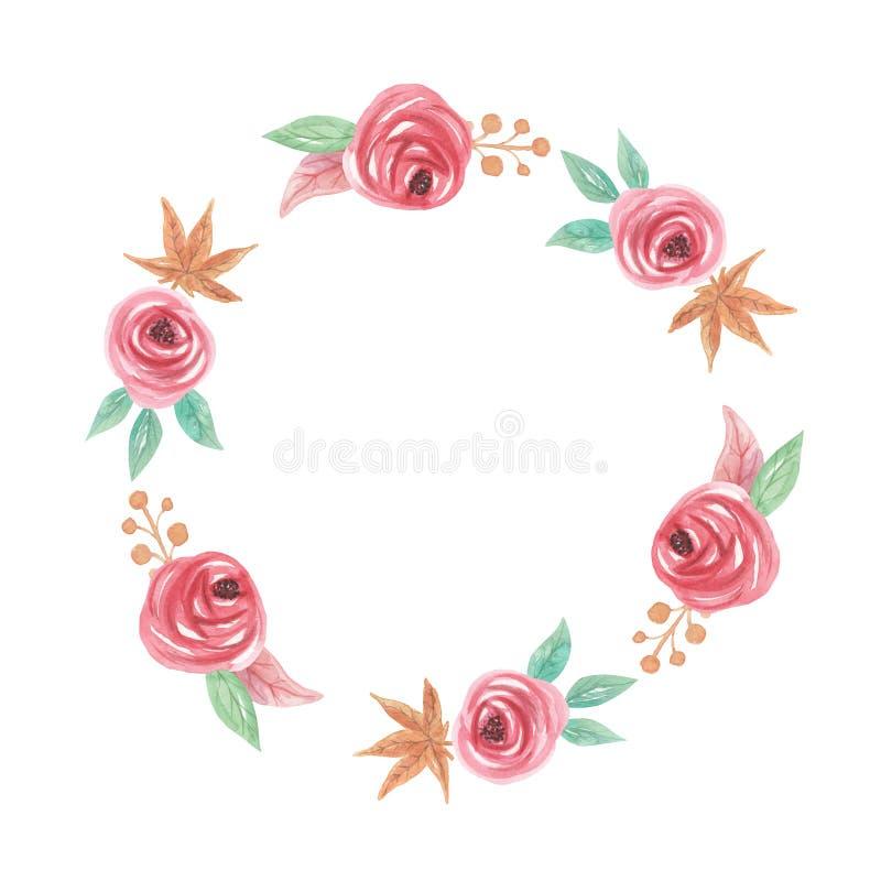 Bożenarodzeniowej akwareli Yule jagod kwiatów zimy wianku Kwiecista girlanda ilustracji