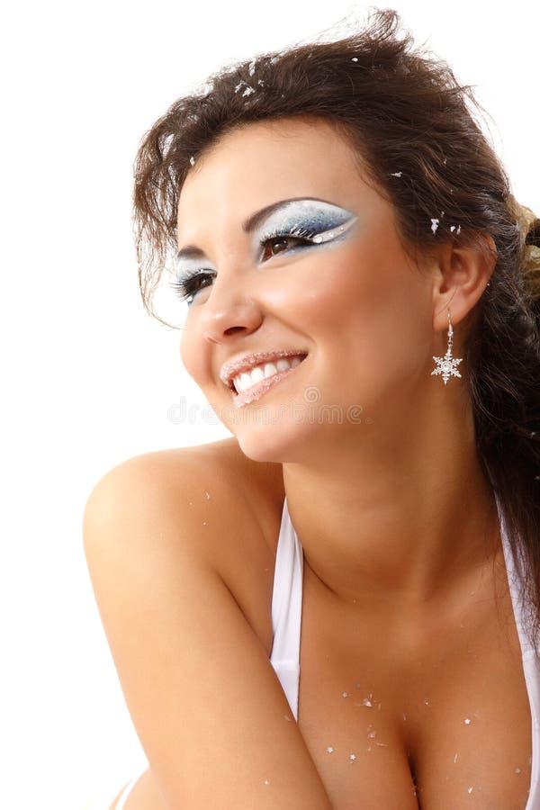 Bożenarodzeniowej młodej seksownej kobiety szczęśliwy ono uśmiecha się obraz stock