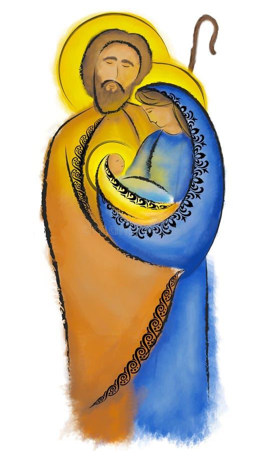 Bożenarodzeniowej narodzenie jezusa sceny Święta rodzina Mary Joseph i dziecko Jezus ilustracji