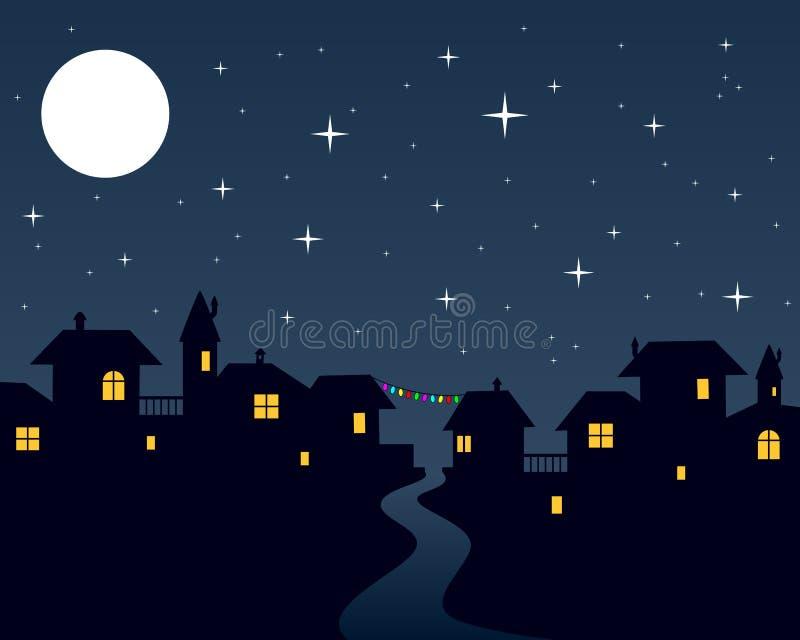 Bożenarodzeniowej Noc Miasteczka Scena ilustracji