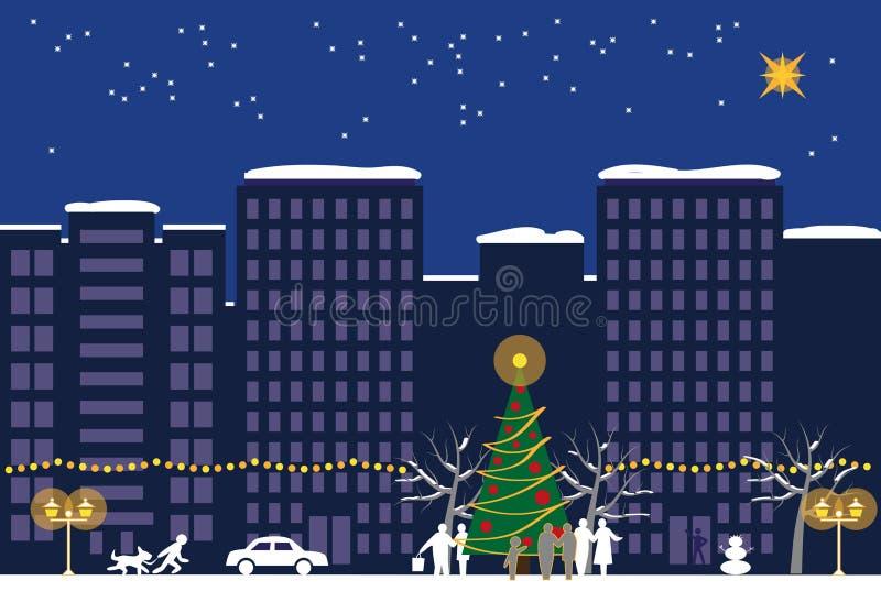 Bożenarodzeniowej nocy miasteczko ilustracji