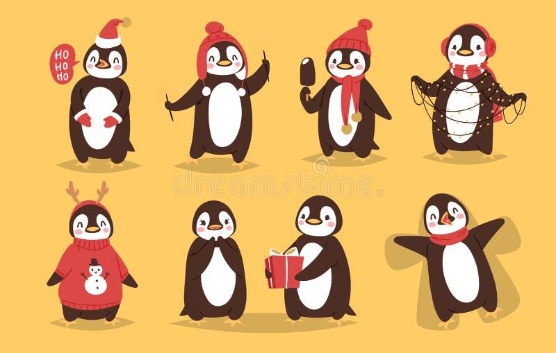 Bożenarodzeniowej pingwinu charakteru wektorowej kreskówki śliczny ptak świętuje Xmas playfull pingwinu twarzy uśmiechu szczęśliw ilustracji