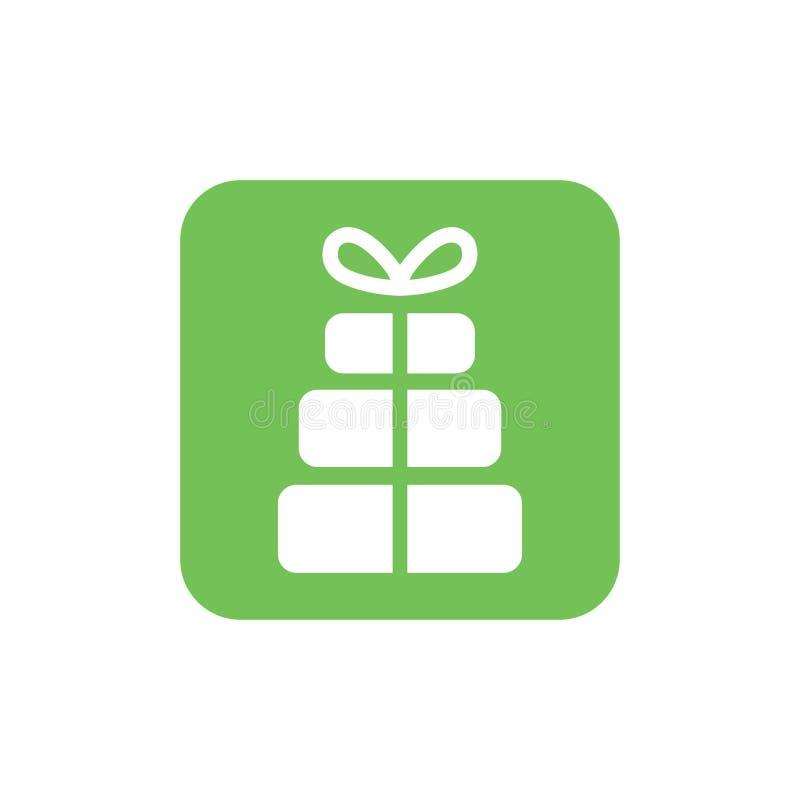 Bożenarodzeniowej prezent ikony ilustracyjny wektorowy symbol xmas prezenta ikona ilustracji