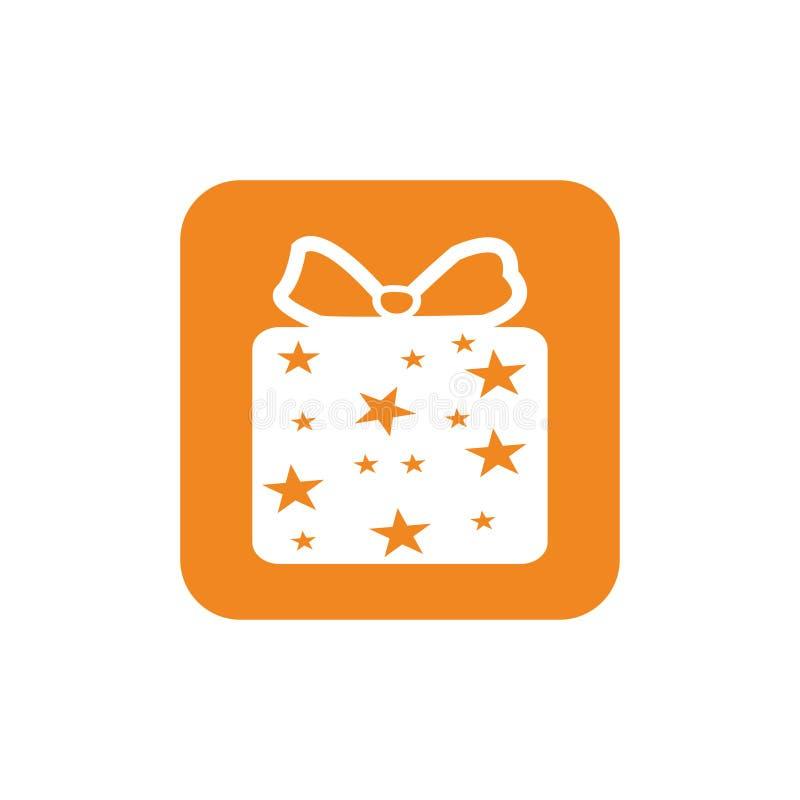 Bożenarodzeniowej prezent ikony ilustracyjny wektorowy symbol xmas prezenta ikona ilustracja wektor