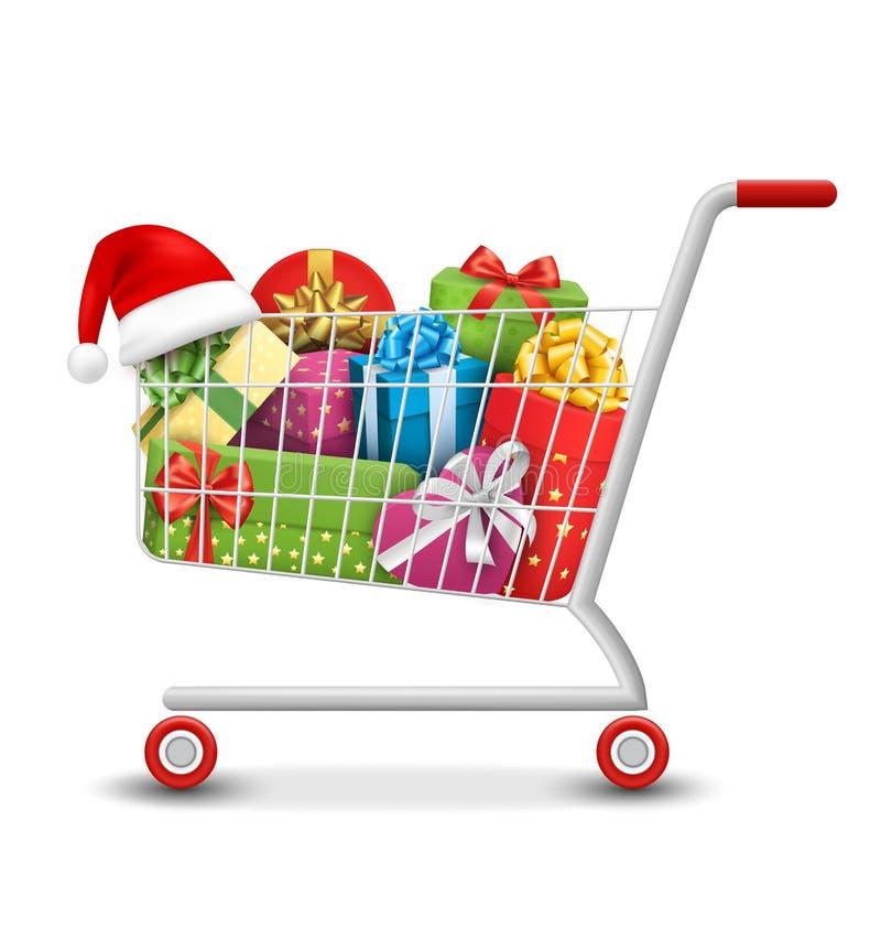 Bożenarodzeniowej sprzedaży Kolorowy wózek na zakupy z prezent torbami i pudełkami Ja royalty ilustracja