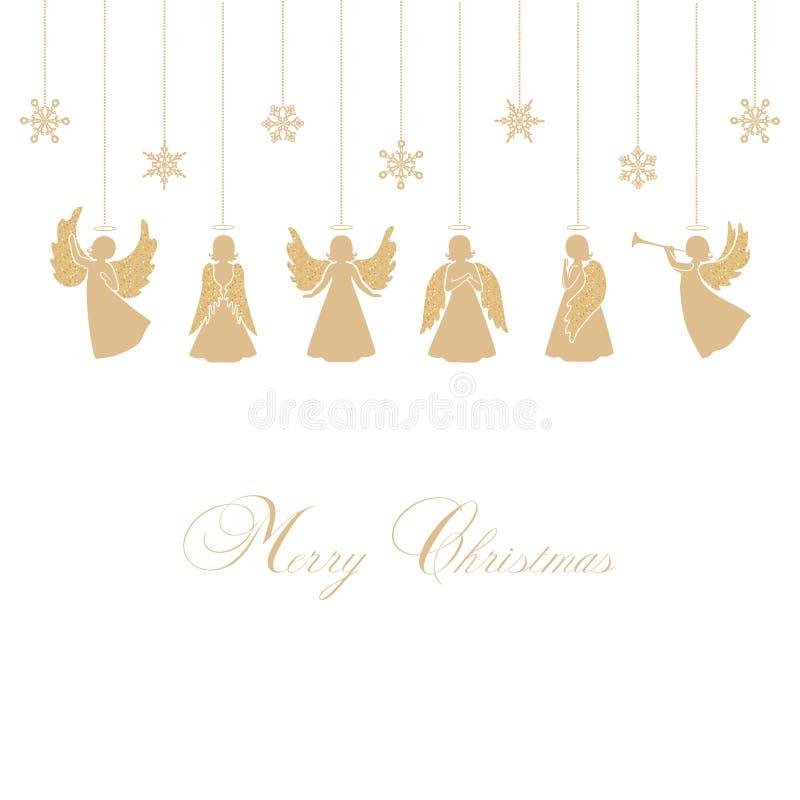 Bożenarodzeniowi aniołowie z płatkami śniegu ilustracja wektor