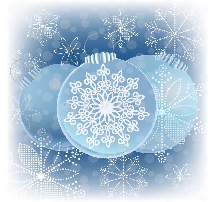 Bożenarodzeniowi Baubles grafiki płatki śniegu royalty ilustracja