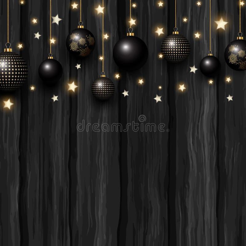 Bożenarodzeniowi baubles i gwiazdy na grunge drewnianej teksturze ilustracja wektor