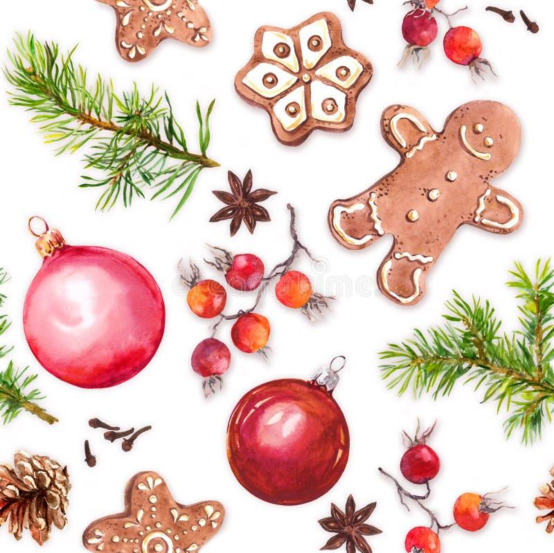 Bożenarodzeniowi baubles, imbirowi chlebowi ciastka, choinka kapują gatunki bezszwowy wzoru akwarela royalty ilustracja