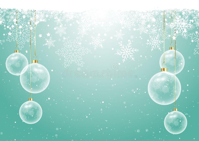 Bożenarodzeniowi baubles na płatka śniegu tle ilustracji