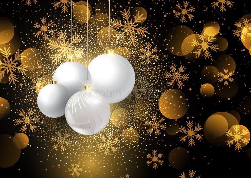 Bożenarodzeniowi baubles na złotym płatek śniegu tle 0908 ilustracja wektor