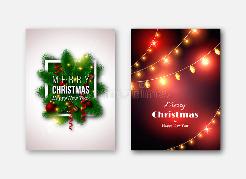 Bożenarodzeniowi broszurka szablony, dekoracyjne karty Nowy rok sosna t ilustracja wektor