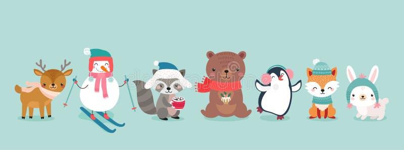 Bożenarodzeniowi charaktery - zwierzęta, bałwany, Święty Mikołaj ilustracji