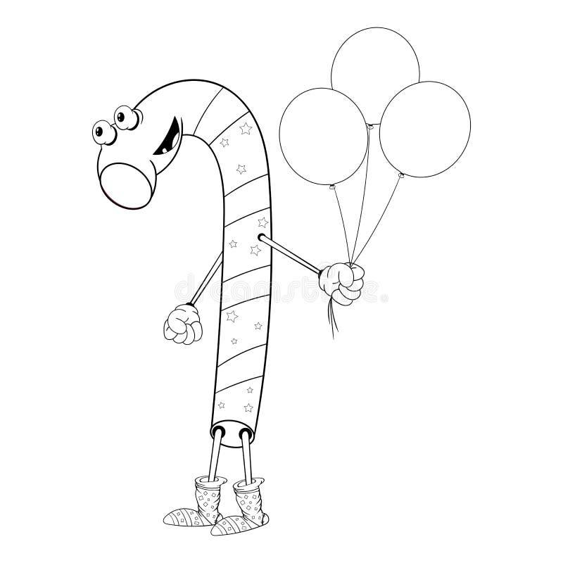 Bożenarodzeniowi cukierków chwyty trzy balonu w jego uśmiechach i ręce Śmieszna kolorystyka w stylu komiczek ilustracja wektor
