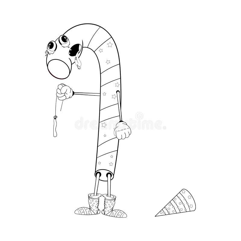 Bożenarodzeniowi cukierków chwyty w jego ręce deflated balon i płacze Śmieszna kolorystyka w stylu komiczek ilustracji