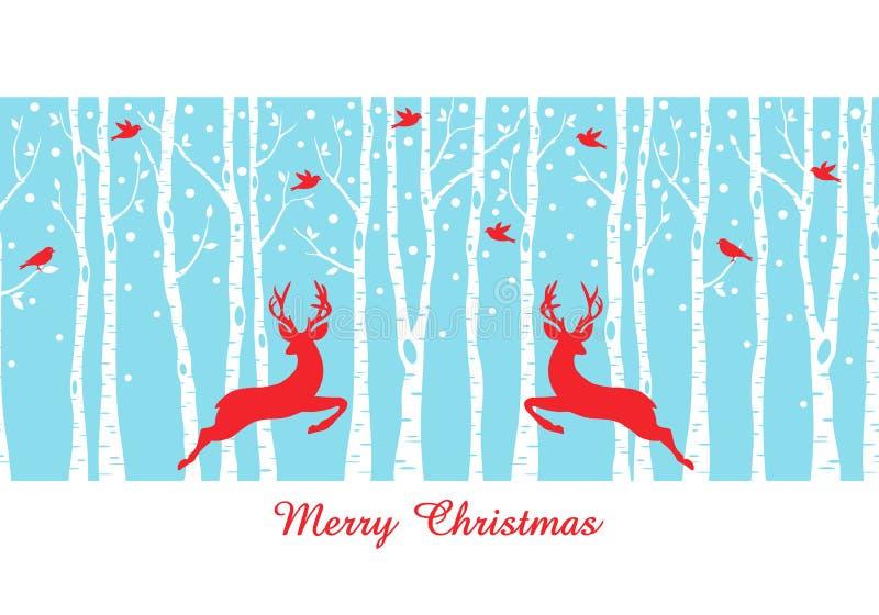 Bożenarodzeniowi deers w brzozy drzewa lesie, wektor ilustracji