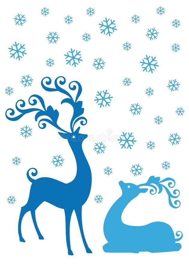 Bożenarodzeniowi deers w opadzie śniegu, wektor royalty ilustracja