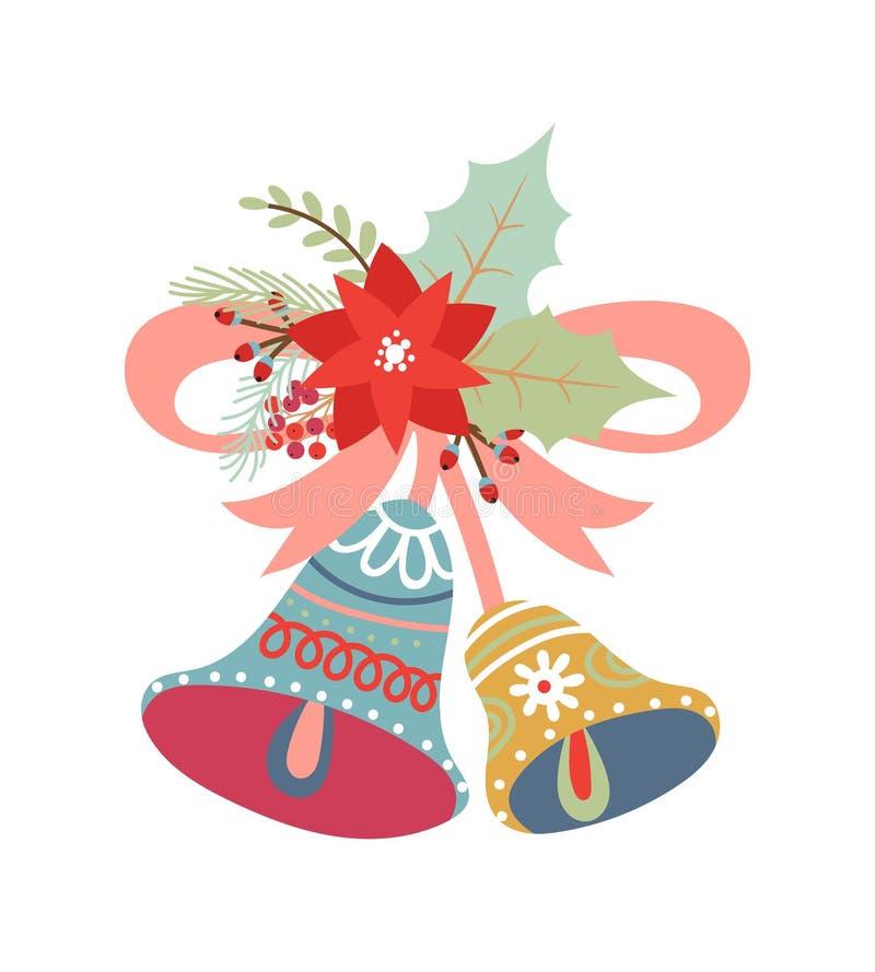 Bożenarodzeniowi dzwony z menchia łękiem royalty ilustracja