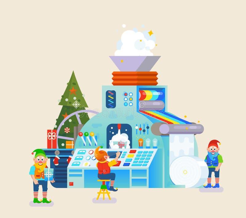 Bożenarodzeniowi elfy fabryczni z prezentem na konwejerze Elfa pojęcie, świętowanie i wakacje, świąteczny temat ilustracja wektor