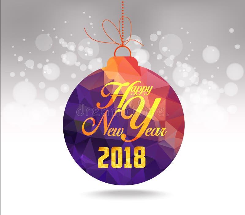 Bożenarodzeniowi i szczęśliwi 2018 nowego roku piłek purpurowy geometrical kartka z pozdrowieniami royalty ilustracja