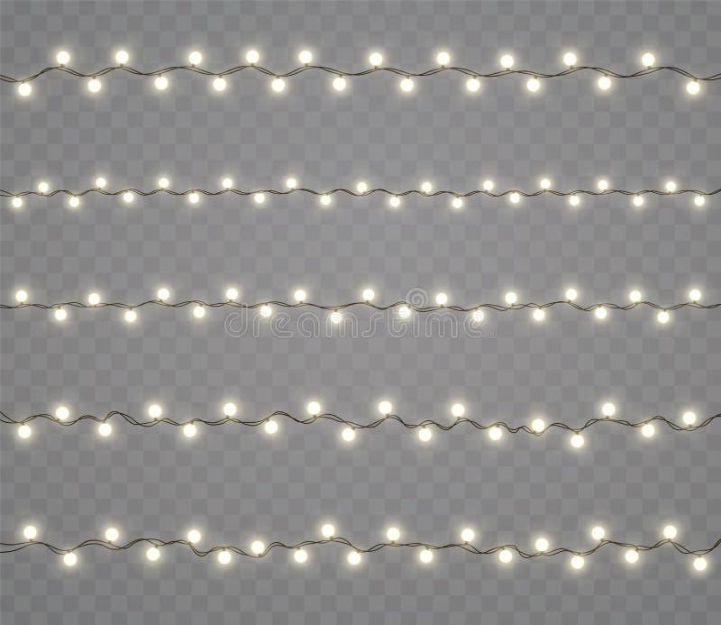 Bożenarodzeniowi jarzy się światła, girlandy, wakacyjne dekoracje Nowy Rok neonowe lampy, skutki ilustracja wektor