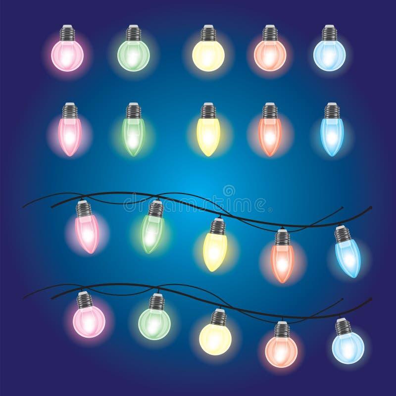Bożenarodzeniowi jarzy się światła Girlandy z barwionymi żarówkami Xmas wakacje bożych narodzeń projekta elementu odosobniony set ilustracji