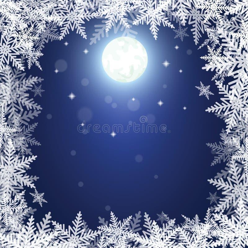 Bożenarodzeniowi płatki śniegu i księżyc na zmroku - błękitny tło royalty ilustracja