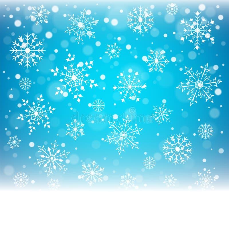 Bożenarodzeniowi płatki śniegu i snowdrift na błękitnym tle ilustracji