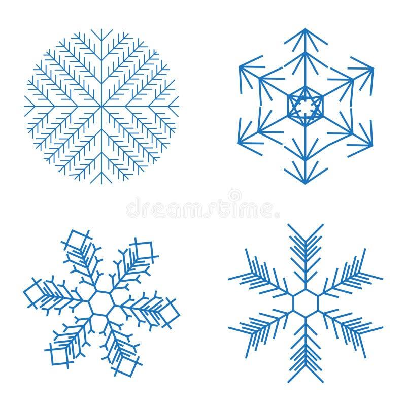Bożenarodzeniowi płatki śniegu na białym tle również zwrócić corel ilustracji wektora ilustracja wektor