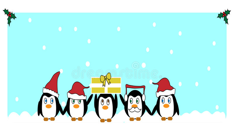Bożenarodzeniowi pingwiny fotografia royalty free