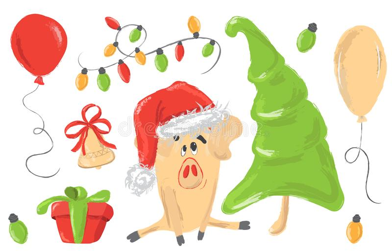 Bożenarodzeniowi powitania ustawiający z dekoracyjnymi zima elementami - girlanda, sosna, prezenta pudełko, baloon, śliczna świni ilustracja wektor